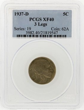 1937-d 3 Legged Buffalo Nickel Pcgs Graded Xf40