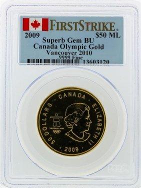 2009 $50 Maple Leaf Gold Coin Olympic Pcgs Superb Gem