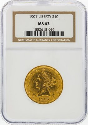 1907 $10 Liberty Head Eagle Gold Coin Ngc Graded Ms62