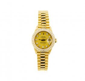 Ladies 18kt Yellow Gold Rolex President Watch With