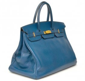 Authentic Vintage Hermes 40cm Blue Birkin Ardenne