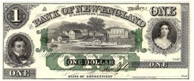 1800s $1 Bank Of New England Obsolete Currency Note