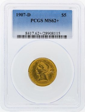 1907-d $5 Liberty Head Half Eagle Gold Coin Pcgs Graded