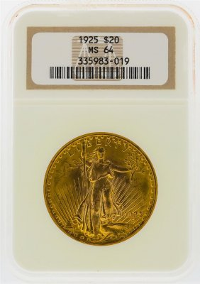 1925 $20 St. Gaudens Gold Double Eagle Coin Ngc Ms64