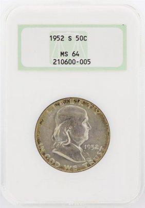 1952-s Franklin Half Dollar Coin Ngc Graded Ms64