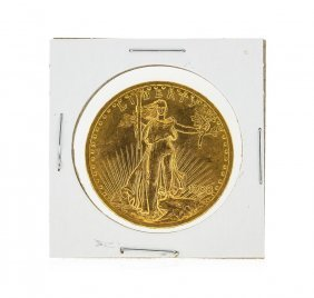 1908 No Motto $20 St. Gaudens Double Eagle Gold Coin Bu