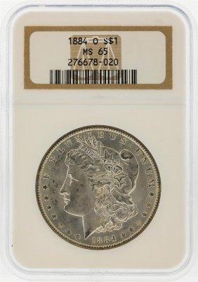 1884-o $1 Morgan Silver Dollar Ngc Graded Ms65