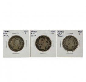 1907-1909o Barber Silver Half Dollar Coin Set