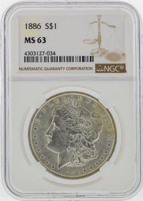 1886 $1 Morgan Silver Dollar Ngc Graded Ms63