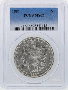 1887 $1 Morgan Silver Dollar Pcgs Graded Ms62