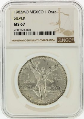 1982 1 Oz Mexico Silver Libertad Coin Ngc Graded Ms67