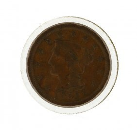 1853 Large Cent Braided Hair Coin