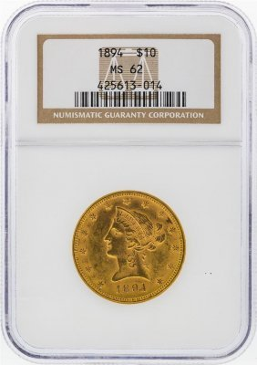 1894 $10 Liberty Head Eagle Gold Coin Ngc Graded Ms62