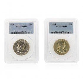 Set Of 1950 & 1950-d Franklin Half Dollar Coins Pcgs