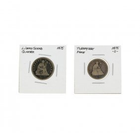 Silver Seated Liberty 1875-s Twenty Cent Piece And 1875
