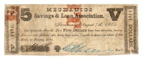 1862 $5 Mechanics Savings And Loan Association Obsolete