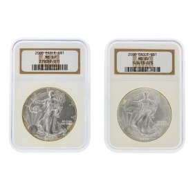 2000 $1 American Silver Eagle Coin Set Ngc Graded Ms69
