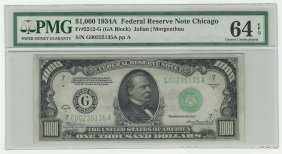 1934 $1000 Federal Reserve Note Chicago Pmg Graded Cu