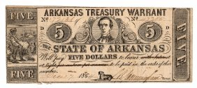1864 $5 Arkansas Treasury Warrant Obsolete Note