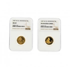 1997-w $5 F.d. Roosevelt Gold Coins Ngc Graded Ms69 &
