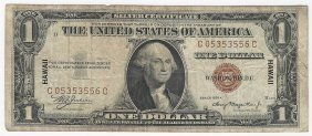 1935a $1 Silver Certificate Emergency Hawaii Note