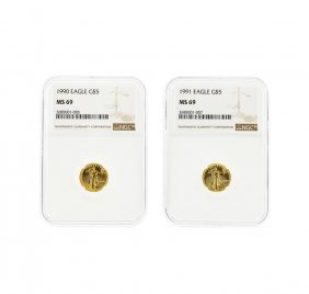 1990-1991 $5 American Gold Eagle Coin Set Ngc Graded