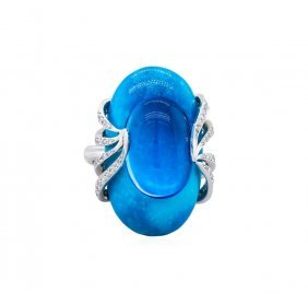 14kt White Gold 10.91ct Blue Topaz, Diamond And