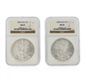2008 $1 American Silver Eagle Coin Set Ngc Graded Ms69