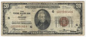 1929 $20 National Currency Note Bank Of Chicago, Il