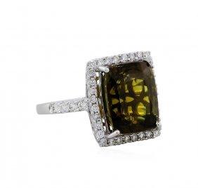 18kt White Gold Gia 10.54ct Alexandrite And Diamond
