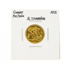 1913 Great Britain 1/2 Sovereign Gold Coin
