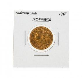 1947 20 Swiss Francs Helvetia Gold Coin