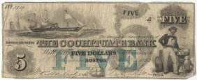 1853 $5 The Cochituate Bank Boston Obsolete Bank Note