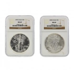 1999-2000 $1 American Silver Eagle Coin Set Ngc Ms69