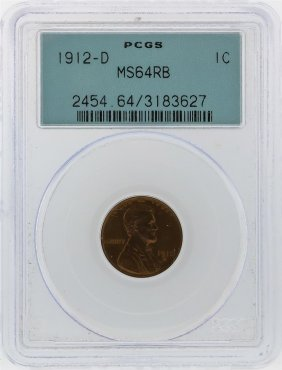 1912-d Lincoln Wheat Penny Pcgs Graded Ms64rb