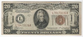 1934a $20 Federal Reserve Emergency Hawaii Note