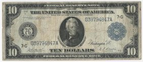 Large 1914 $10 Federal Reserve Note