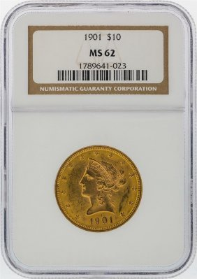 1901 $10 Liberty Head Gold Coin Ngc Graded Ms62