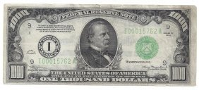 1934 $1000 Federal Reserve Bank Note Minnesota