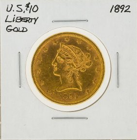 1892 $10 Liberty Head Gold Coin