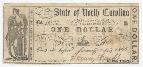 1866 $1 The State Of North Carolina Obsolete Bank Note