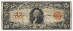 1922 $20 Large Size Gold Certificate Note