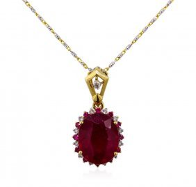 14kt Two-tone Gold 6.10ctw Ruby And Diamond Pendant