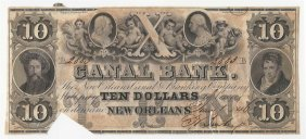 1846 $10 Canal Bank New Orleans Obsolete Bank Note