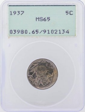 1937 Buffalo Nickel Coin Green Pcgs Graded Ms65