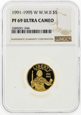 1991-1995w $5 W.w.ii Gold Coin Ngc Graded Pf69 Ultra