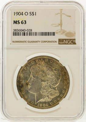 1904-o $1 Morgan Silver Dollar Ngc Graded Ms63