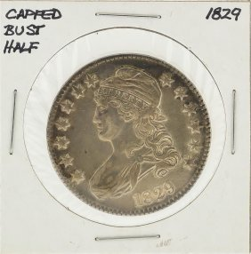 1829 Capped Bust Half Dollar Silver Coin