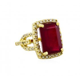 14kt Yellow Gold 12.73ct Ruby And Diamond Ring