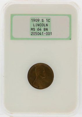 1909-s Lincoln Wheat Penny Ngc Graded Ms64bn